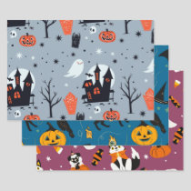 Halloween Giftwrap Mixed Set Wrapping Paper Sheets