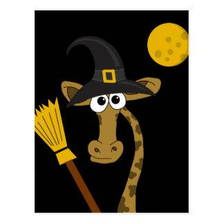 Halloween giraffe witch postcard