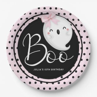 Halloween Girl Birthday Pink Black Personalized Paper Plate
