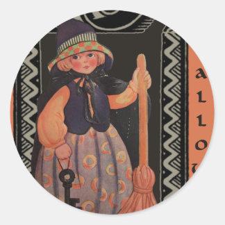 Halloween Girl Classic Round Sticker