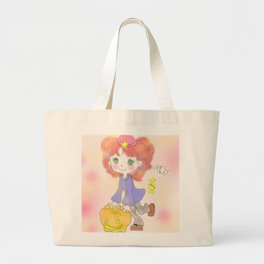 Halloween girl large tote bag