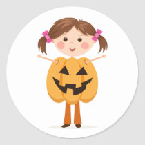 Halloween girl wearing a Jack o Lantern costume Stickers