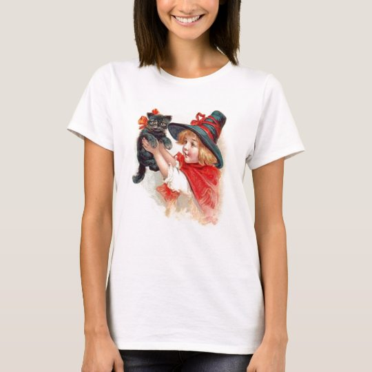 Halloween Girl with Black Cat Shirt