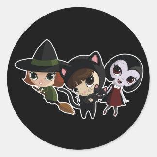 Halloween Girls Classic Round Sticker