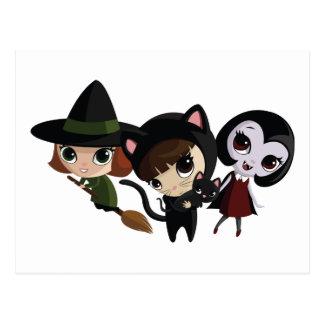 Halloween Girls Postcard