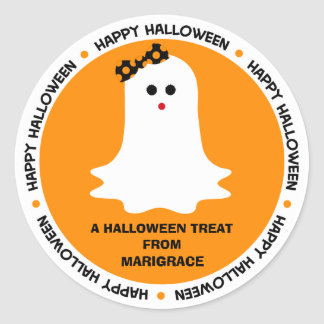 Halloween Girly Ghost Favor Classic Round Sticker
