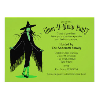 Halloween Glam Witch Party Invite