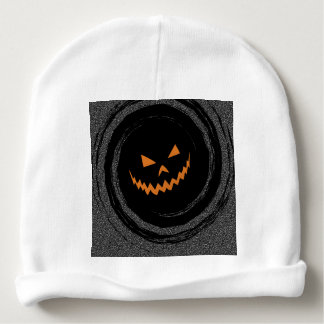 Halloween Glowing Jack O'Lantern in a black swirl Baby Beanie