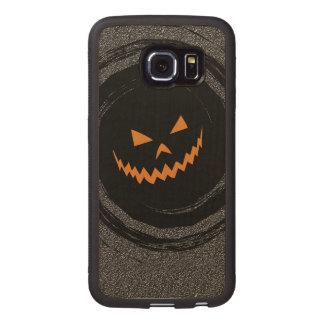Halloween Glowing Jack O'Lantern in a black swirl Wood Phone Case