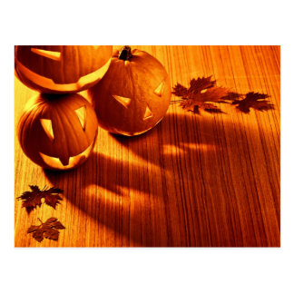 Halloween glowing pumpkins border post cards