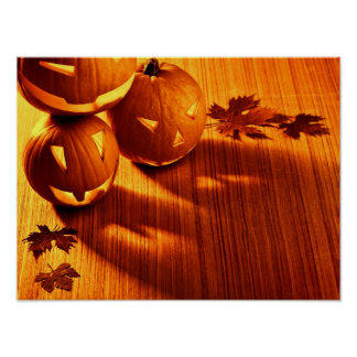 Halloween glowing pumpkins border poster