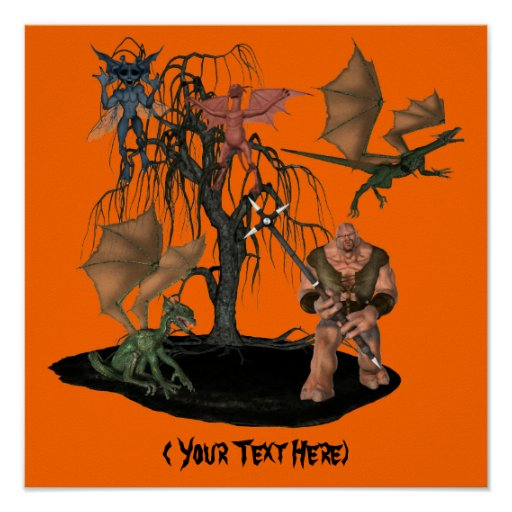 Halloween Goblin Creatures Personalized Poster