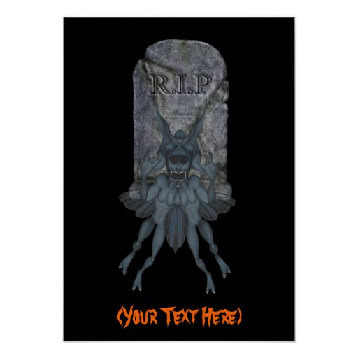 Halloween Goblin Tombstone Personalized Poster