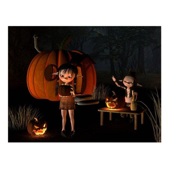 Halloween Goblins with Pumpkin House Postcard