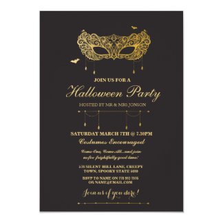 Halloween Gold Black Mask Masquerade Party Invite