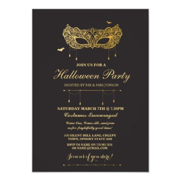 Halloween Themed Halloween Gold Black Mask Masquerade Party Invite