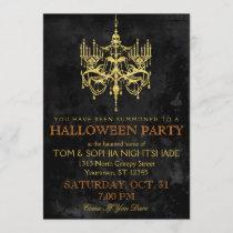 Halloween Gold Chandelier Invitation