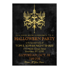 Halloween Gold Chandelier Invitation at Zazzle