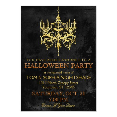 Halloween Gold Chandelier Invitation