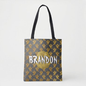 Halloween Themed Halloween Gold Foil Ghost Name Candy Bag