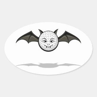 Halloween Golf Vampire Bat Oval Sticker