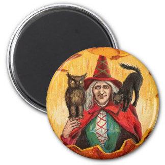 Halloween Good Wishes Witch 2 Inch Round Magnet