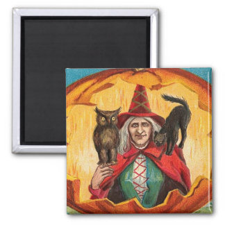 Halloween Good Wishes Witch 2 Inch Square Magnet