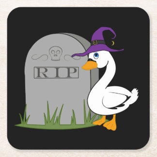 Halloween Goose with Grave Stone Square Paper Coaster