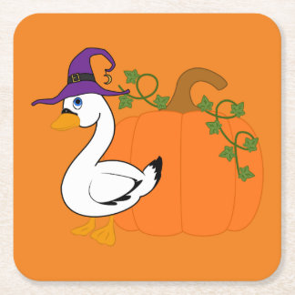 Halloween Goose with Pumpkin Square Paper Coaster