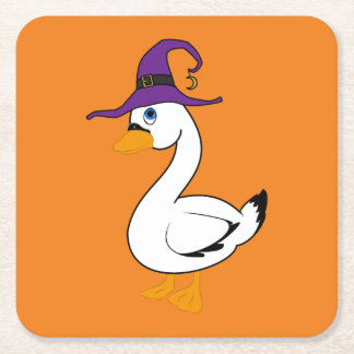 Halloween Goose with Witch Hat Square Paper Coaster