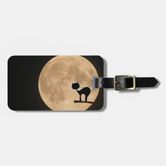 Halloween gothic black cat with full moon bag tag
