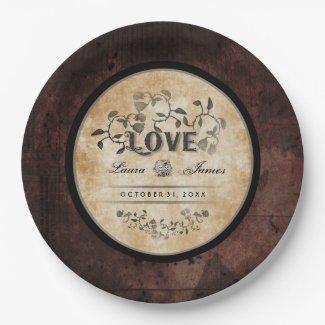 Halloween Gothic Brown LOVE Matching Wedding Plate