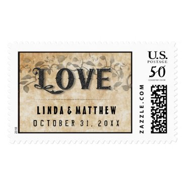 Halloween Themed Halloween Gothic Brown LOVE Wedding Names & Date Postage