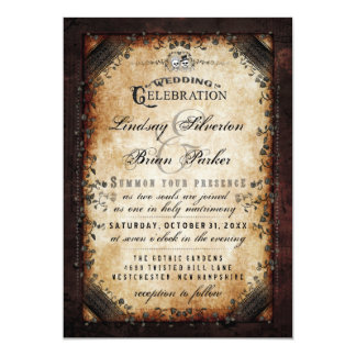 Halloween Gothic Brown Skeleton Wedding Invitation