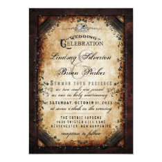 Halloween Gothic Brown Skeleton Wedding Reception Card at Zazzle