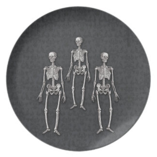 Halloween Gothic Haunted House Victorian Skeletons Melamine Plate