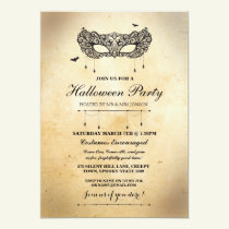Halloween Gothic Mask Masquerade Party Invite
