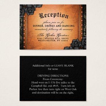 Halloween Themed Halloween Gothic Orange Black 3.5 x 2.5 Reception Business Card