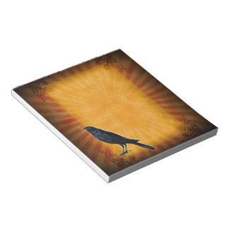 Halloween Gothic Raven on Orange Memo Note Pad