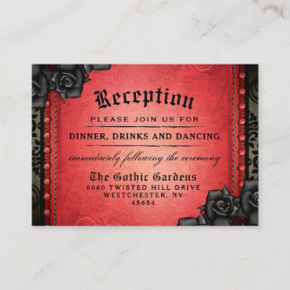 Halloween Gothic Red Black 3.5 x 2.5 Reception Enclosure Card