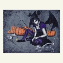 Halloween Gothic Skeleton Cats Demon Postcard