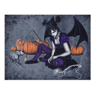 Halloween Gothic Skeleton Cats Demon Postcard