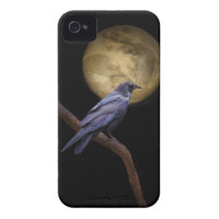 Halloween, Gothic Style Raven and Moon iPhone 4 Case-Mate Cases