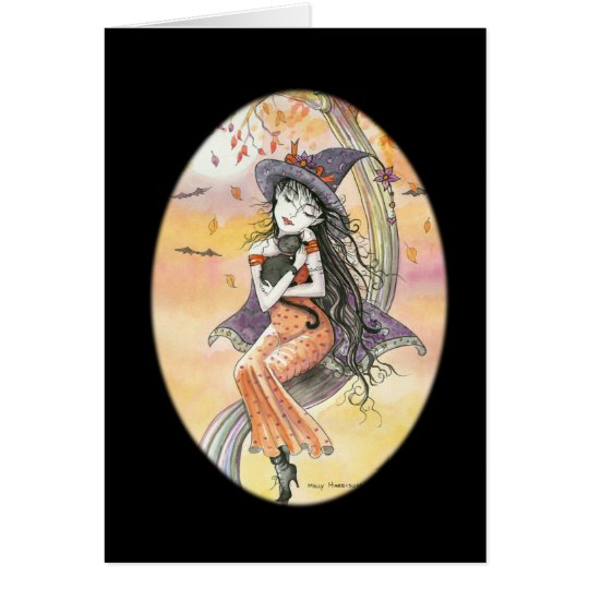 Halloween Gothic Witch Cat Card