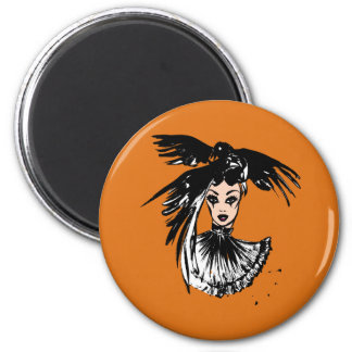Halloween gothic witch with ravens magnet