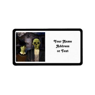 Halloween gótico americano etiquetas de dirección