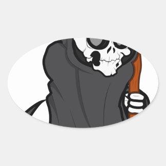 Halloween Graim Reaper skeleton Oval Sticker
