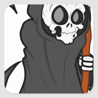 Halloween Graim Reaper skeleton Square Sticker