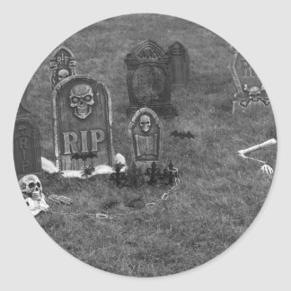 Halloween Grave Yard with Tombstones Classic Round Sticker
