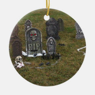 Halloween Grave Yard with Tombstones Double-Sided Ceramic Round Christmas Ornament